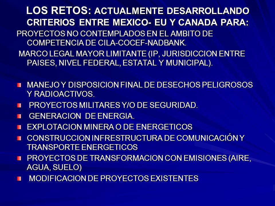 LOS RETOS: ACTUALMENTE DESARROLLANDO CRITERIOS ENTRE MEXICO- EU Y CANADA PARA: PROYECTOS NO CONTEMPLADOS EN EL AMBITO DE COMPETENCIA DE CILA-COCEF-NAD