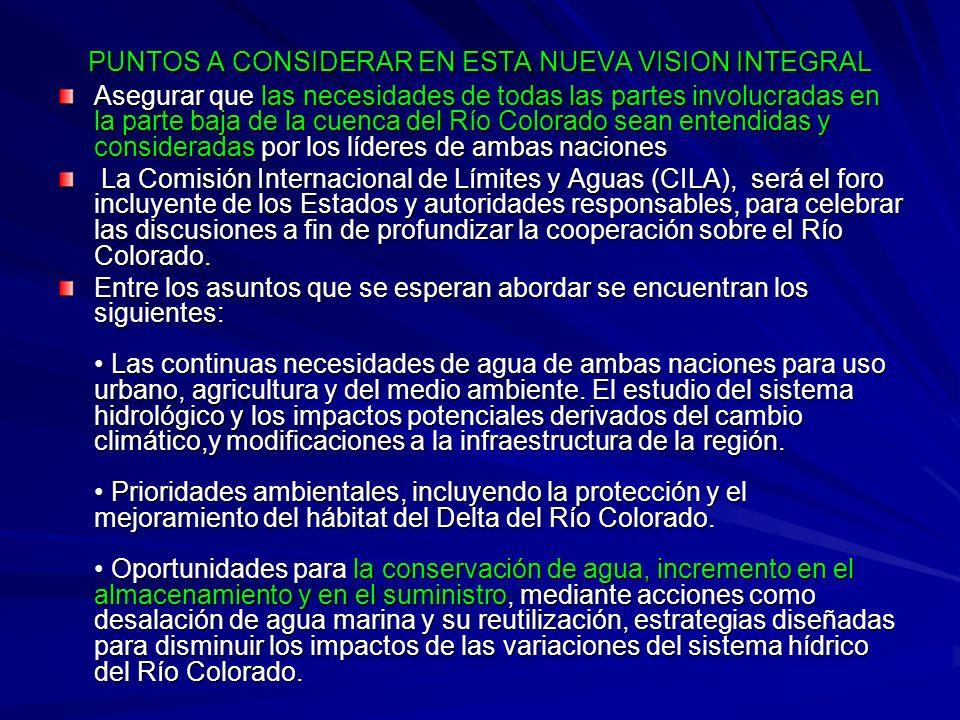 PUNTOS A CONSIDERAR EN ESTA NUEVA VISION INTEGRAL Asegurar que las necesidades de todas las partes involucradas en la parte baja de la cuenca del Río
