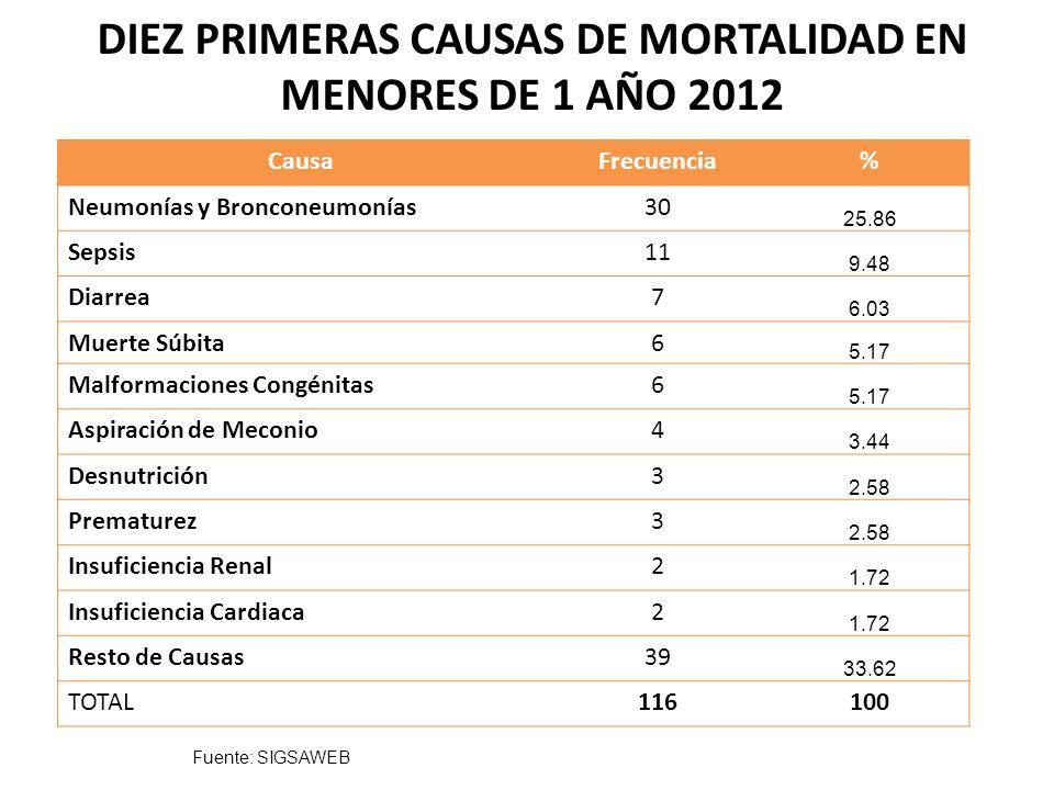 DIEZ PRIMERAS CAUSAS DE MORTALIDAD DE 1 A 5 AÑOS 2012 Frecuencia % Neumonías y Bronconeumonías1328.26 Desnutrición613.33 Diarrea511.11 Epilepsia511.11 Enfermedad Cardiaca36.66 Sepsis24.44 Parasitosis intestinal24.44 Paro Respiratorio24.44 Parálisis Cerebral Infantil12.22 Insuficiencia Renal12.22 Resto Causas613.33 TOTAL46100 Fuente: SIGSAWEB