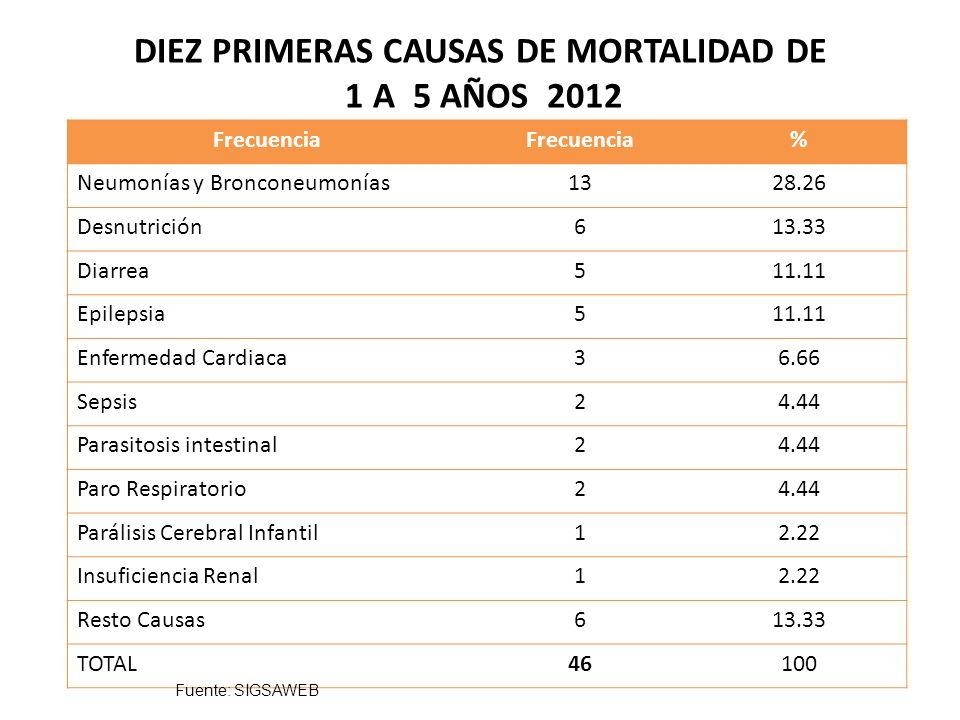 DIEZ PRIMERAS CAUSAS DE MORTALIDAD EN ADOLESCENTES 2012 Frecuencia % Traumatismo múltiple211.11 Epilepsia211.11 Asfixia211.11 Disparo por Arma de Fuego211.11 Intoxicación por plaguicida15.55 Diarrea15.55 Ulcera gástrica15.55 Apendicitis15.55 Infarto Agudo al Miocardio15.55 Ictericia15.55 Resto causas522.22 TOTAL19100 Fuente: SIGSAWEB