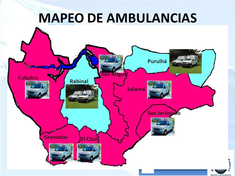 MAPEO DE AMBULANCIAS Cubulco Granados El Chol Salamá San Jerónimo Purulhá Rabinal San Miguel
