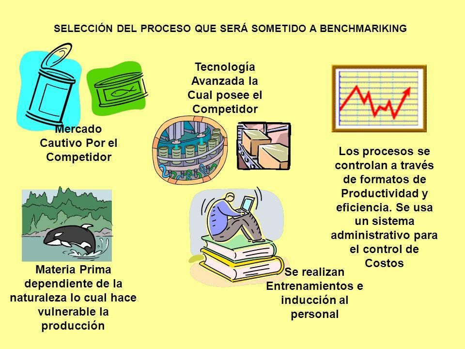 SELECCIÓN DEL PROCESO QUE SERÁ SOMETIDO A BENCHMARIKING Mercado Cautivo Por el Competidor Tecnología Avanzada la Cual posee el Competidor Materia Prim