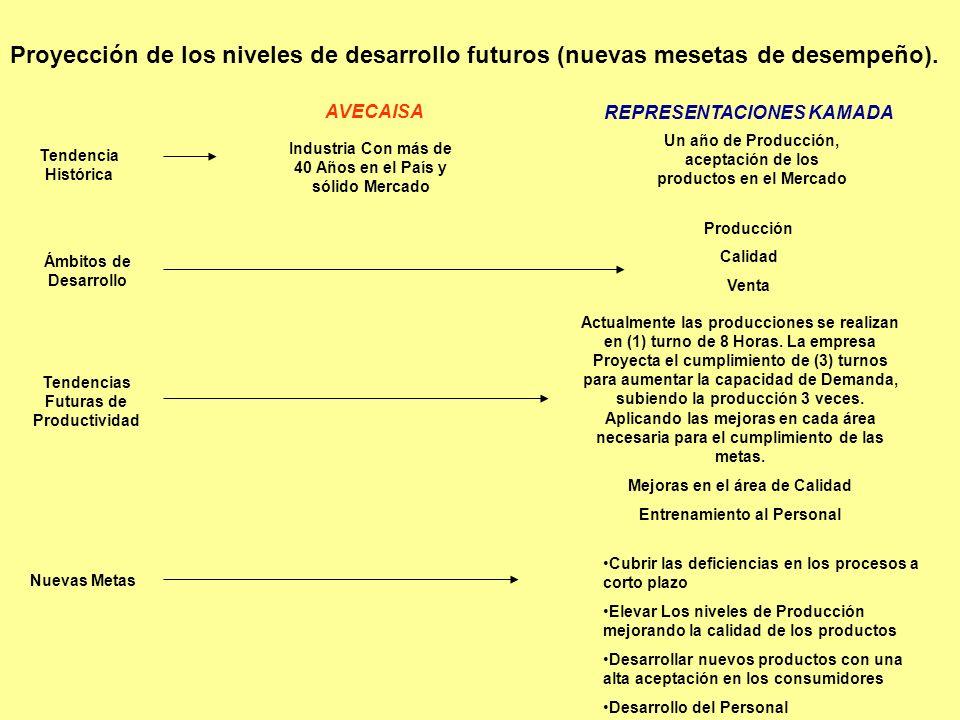 Proyección de los niveles de desarrollo futuros (nuevas mesetas de desempeño). AVECAISA REPRESENTACIONES KAMADA Tendencia Histórica Industria Con más