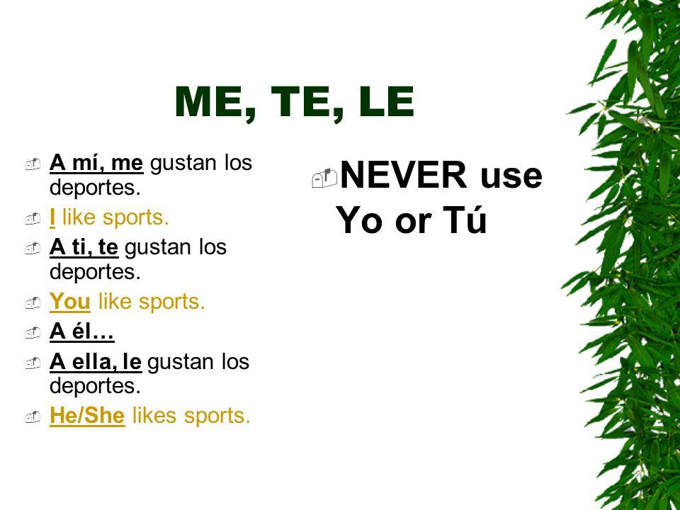 ME, TE, LE A mí, me gustan los deportes.I like sports.