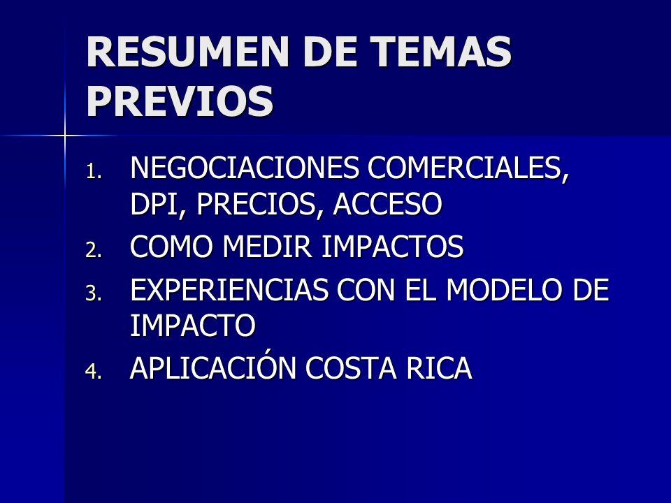 RESUMEN DE TEMAS PREVIOS 1. NEGOCIACIONES COMERCIALES, DPI, PRECIOS, ACCESO 2.