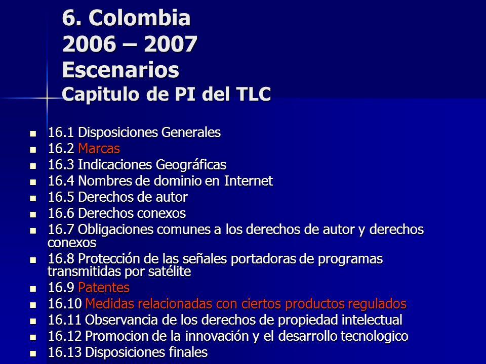 6. Colombia 2006 – 2007 Escenarios Capitulo de PI del TLC 16.1 Disposiciones Generales 16.1 Disposiciones Generales 16.2 Marcas 16.2 Marcas 16.3 Indic