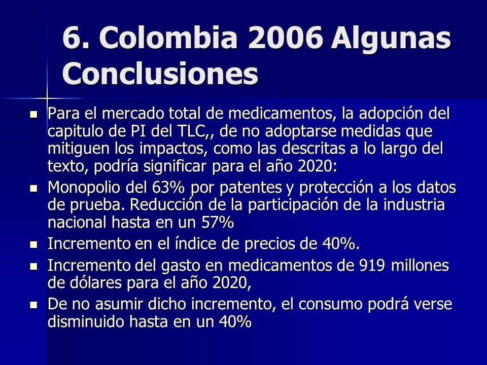 6. Colombia 2006 Algunas Conclusiones Para el mercado total de medicamentos, la adopción del capitulo de PI del TLC,, de no adoptarse medidas que miti