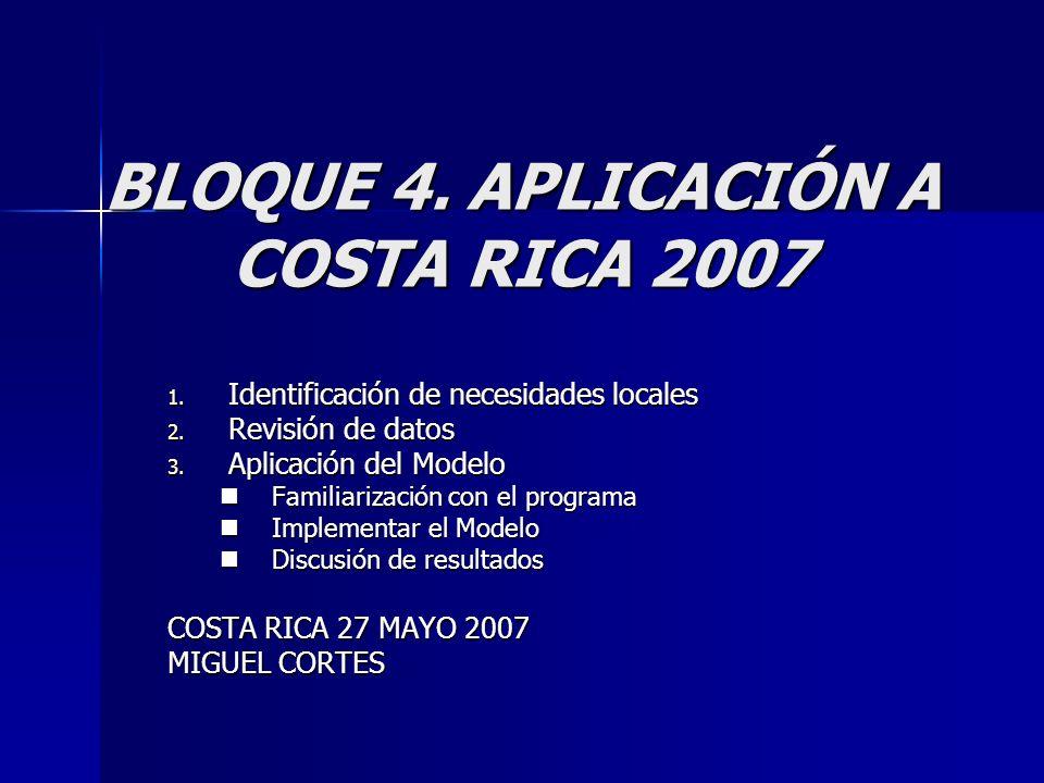 BLOQUE 4. APLICACIÓN A COSTA RICA 2007 1. Identificación de necesidades locales 2.