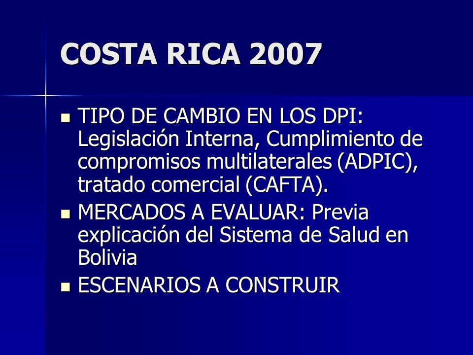 COSTA RICA 2007 TIPO DE CAMBIO EN LOS DPI: Legislación Interna, Cumplimiento de compromisos multilaterales (ADPIC), tratado comercial (CAFTA).