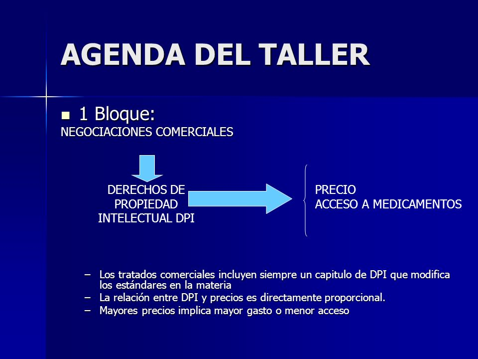 AGENDA DEL TALLER 1 Bloque: 1 Bloque: NEGOCIACIONES COMERCIALES –Los tratados comerciales incluyen siempre un capitulo de DPI que modifica los estándares en la materia –La relación entre DPI y precios es directamente proporcional.
