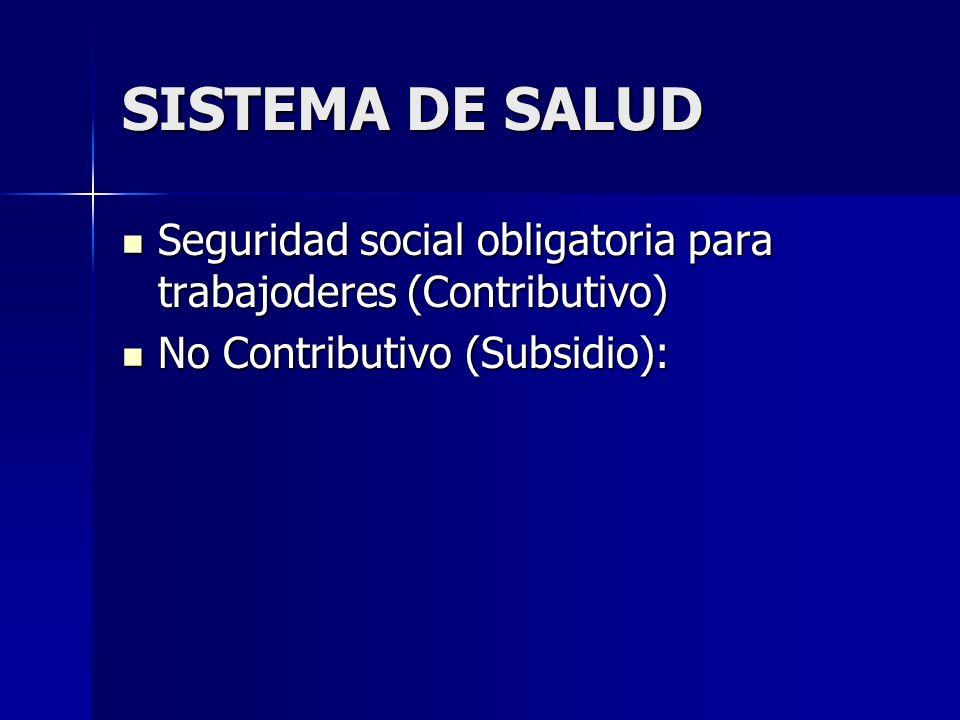 SISTEMA DE SALUD Seguridad social obligatoria para trabajoderes (Contributivo) Seguridad social obligatoria para trabajoderes (Contributivo) No Contributivo (Subsidio): No Contributivo (Subsidio):