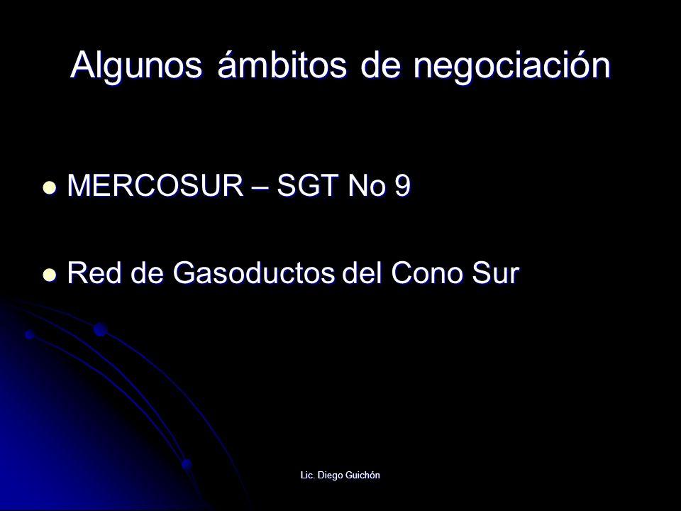 Lic. Diego Guichón Algunos ámbitos de negociación MERCOSUR – SGT No 9 MERCOSUR – SGT No 9 Red de Gasoductos del Cono Sur Red de Gasoductos del Cono Su