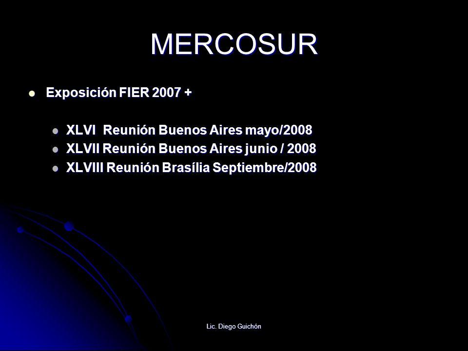 Lic. Diego Guichón MERCOSUR Exposición FIER 2007 + Exposición FIER 2007 + XLVI Reunión Buenos Aires mayo/2008 XLVI Reunión Buenos Aires mayo/2008 XLVI