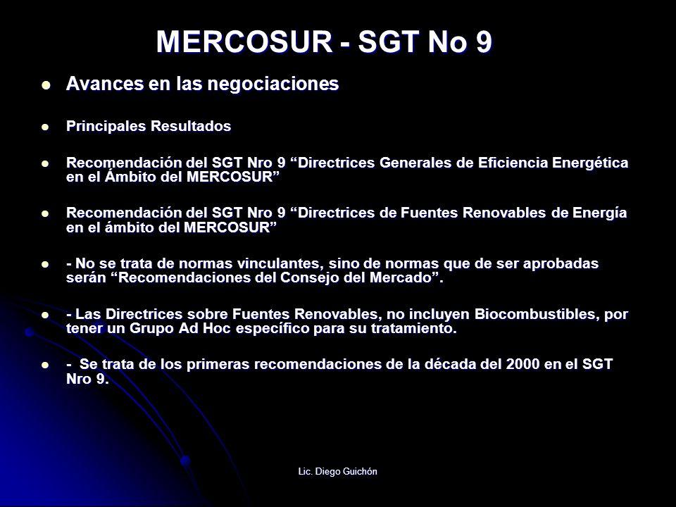 Lic. Diego Guichón MERCOSUR - SGT No 9 Avances en las negociaciones Avances en las negociaciones Principales Resultados Principales Resultados Recomen