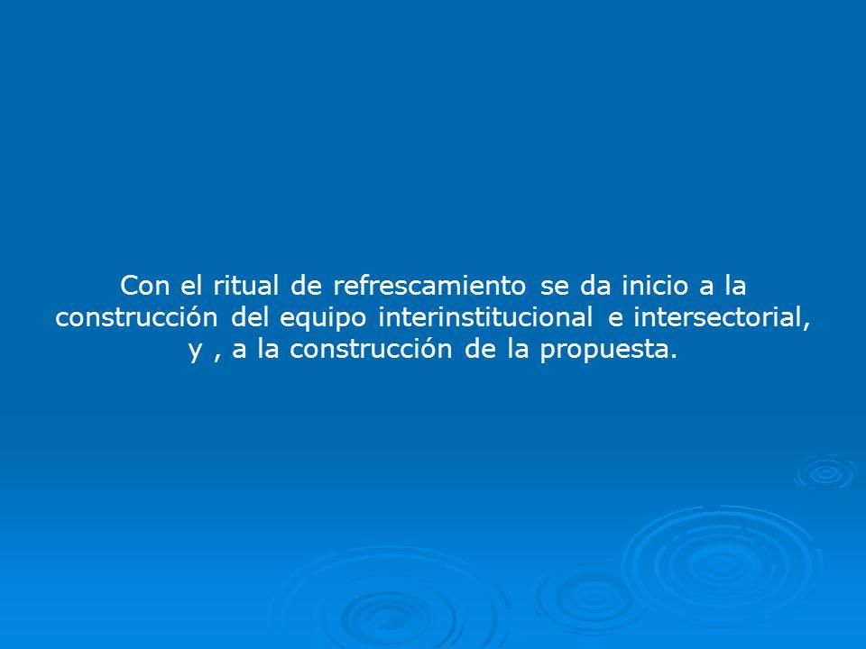 Con el ritual de refrescamiento se da inicio a la construcción del equipo interinstitucional e intersectorial, y, a la construcción de la propuesta.