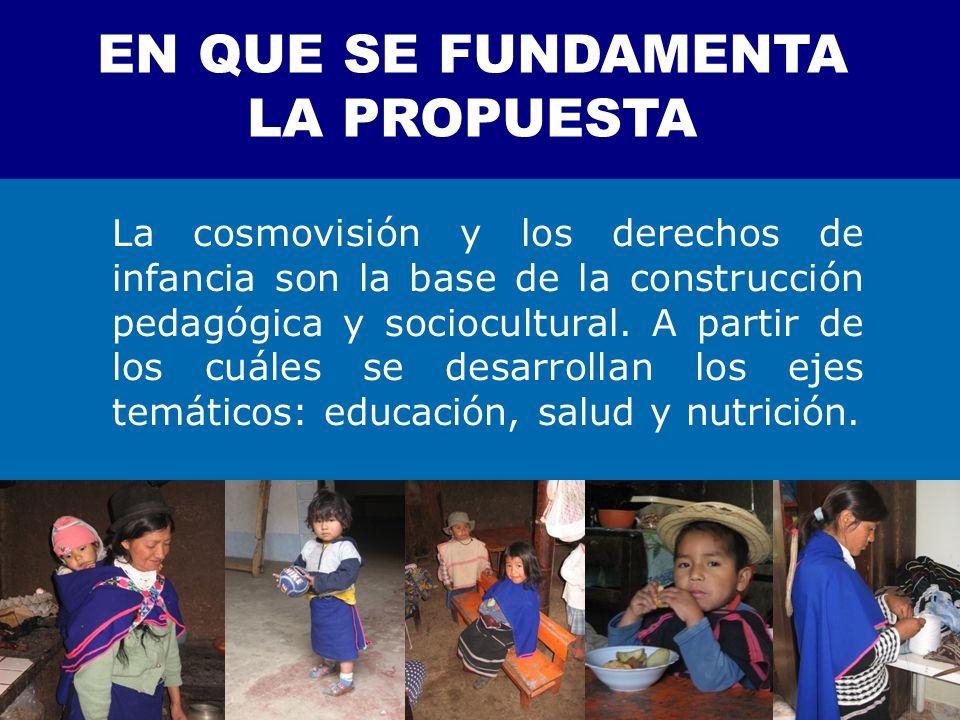 La cosmovisión y los derechos de infancia son la base de la construcción pedagógica y sociocultural. A partir de los cuáles se desarrollan los ejes te
