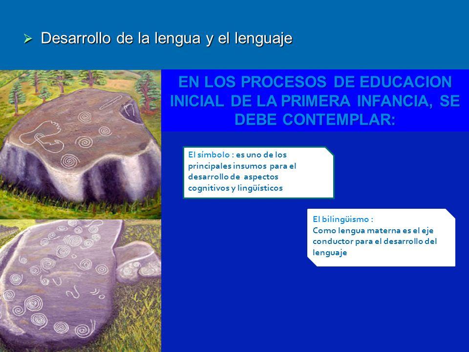 Desarrollo de la lengua y el lenguaje Desarrollo de la lengua y el lenguaje EN LOS PROCESOS DE EDUCACION INICIAL DE LA PRIMERA INFANCIA, SE DEBE CONTE