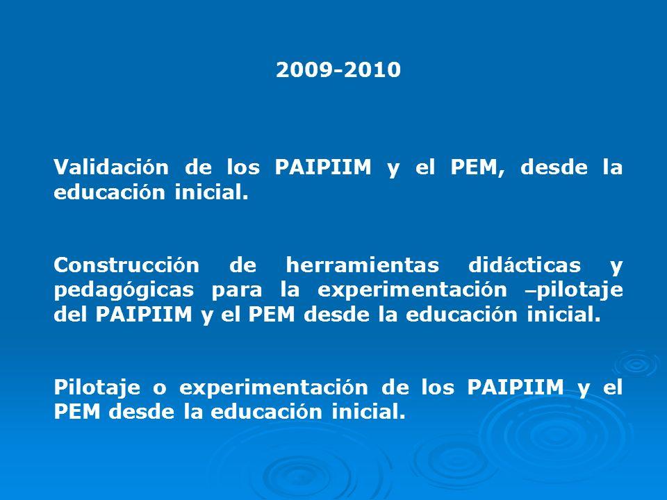 2009-2010 Validaci ó n de los PAIPIIM y el PEM, desde la educaci ó n inicial. Construcci ó n de herramientas did á cticas y pedag ó gicas para la expe