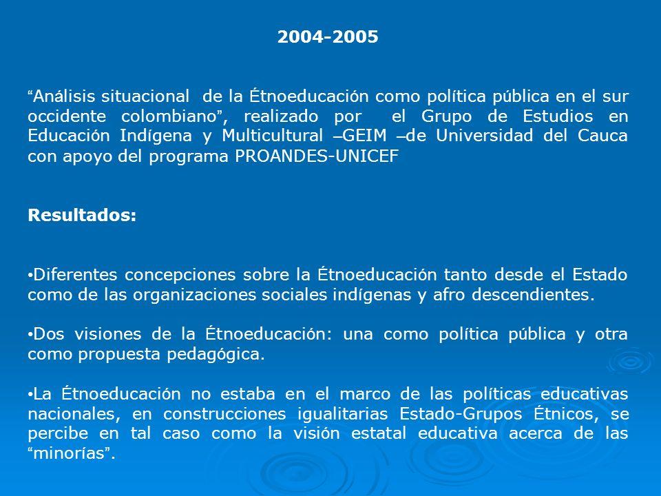 2004-2005 An á lisis situacional de la É tnoeducaci ó n como pol í tica p ú blica en el sur occidente colombiano, realizado por el Grupo de Estudios e