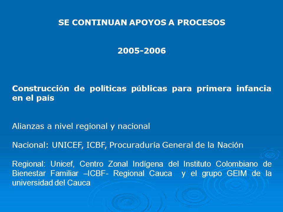 SE CONTINUAN APOYOS A PROCESOS 2005-2006 Construcci ó n de pol í ticas p ú blicas para primera infancia en el pa í s Alianzas a nivel regional y nacio