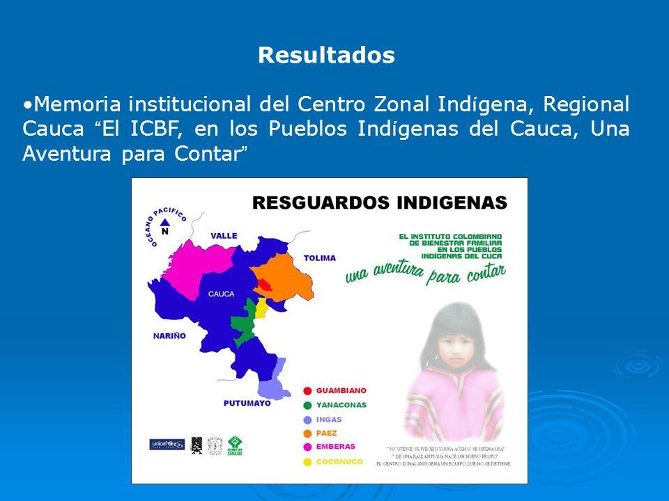 Resultados Memoria institucional del Centro Zonal Ind í gena, Regional Cauca El ICBF, en los Pueblos Ind í genas del Cauca, Una Aventura para Contar