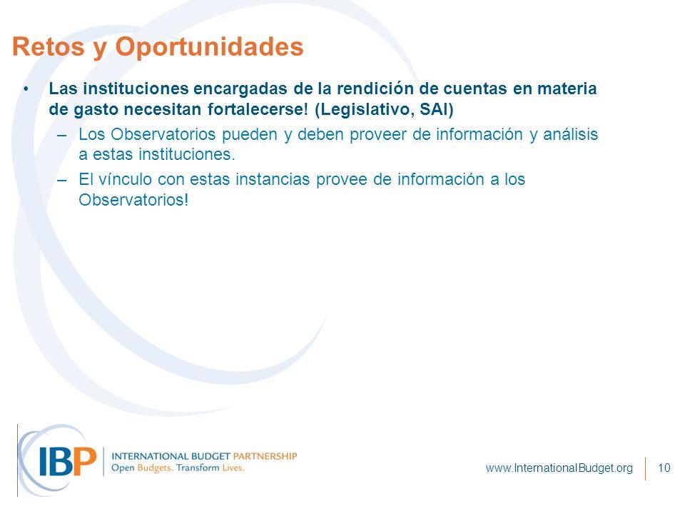 Retos y Oportunidades www.InternationalBudget.org10 Las instituciones encargadas de la rendición de cuentas en materia de gasto necesitan fortalecerse.