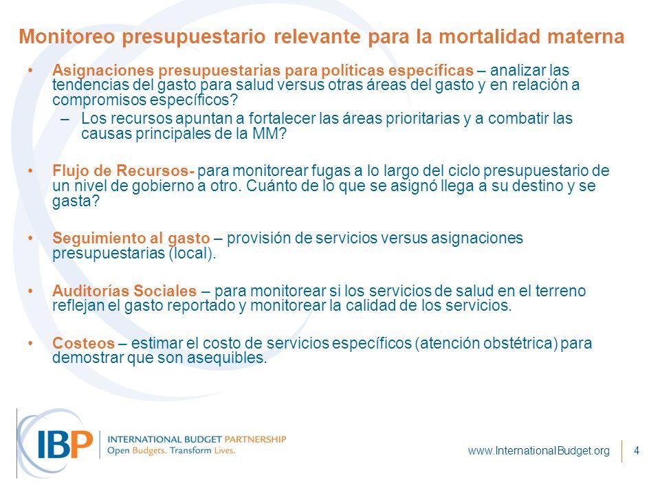 www.InternationalBudget.org4 Monitoreo presupuestario relevante para la mortalidad materna Asignaciones presupuestarias para políticas específicas – analizar las tendencias del gasto para salud versus otras áreas del gasto y en relación a compromisos específicos.