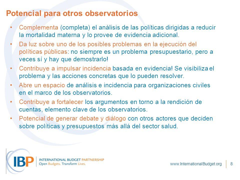 Potencial para otros observatorios Complementa (completa) el análisis de las políticas dirigidas a reducir la mortalidad materna y lo provee de evidencia adicional.