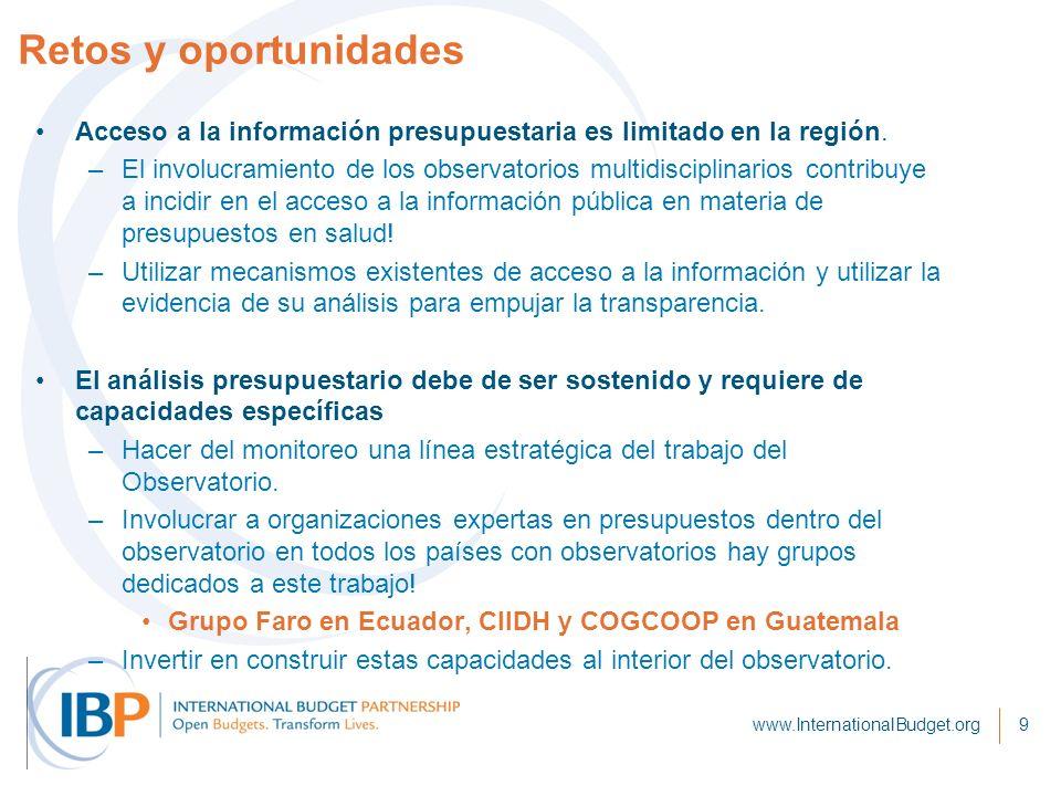Retos y oportunidades Acceso a la información presupuestaria es limitado en la región. –El involucramiento de los observatorios multidisciplinarios co