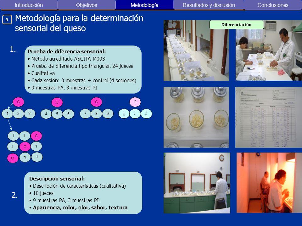 Introducción ObjetivosMetodología Resultados y discusión Metodología para la determinación sensorial del queso Conclusiones Diferenciación Descripción