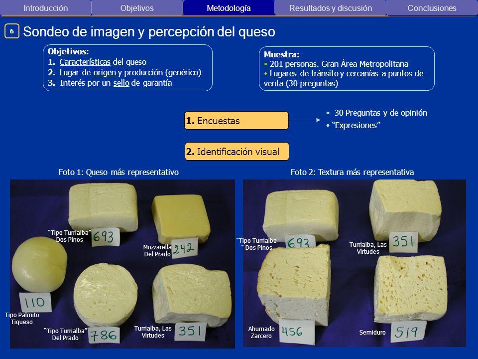 Introducción ObjetivosMetodología Resultados y discusión Sondeo de imagen y percepción del queso Conclusiones 30 Preguntas y de opinión Expresiones 1.