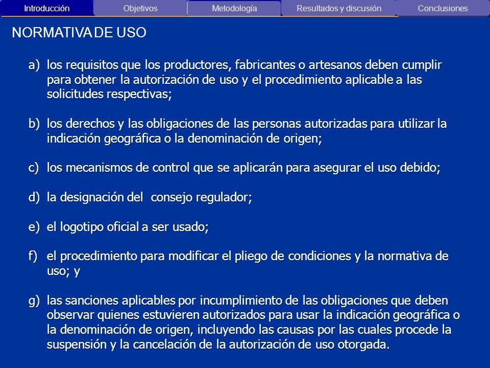 Introducción ObjetivosMetodología Resultados y discusión NORMATIVA DE USO Conclusiones a)los requisitos que los productores, fabricantes o artesanos d