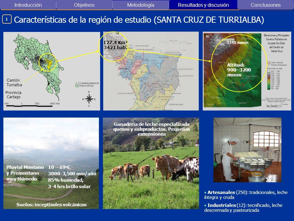 Introducción ObjetivosMetodología Resultados y discusión Conclusiones Provincia Cartago Altitud: 900–3200 msnm Ganadería de leche especializada quesos