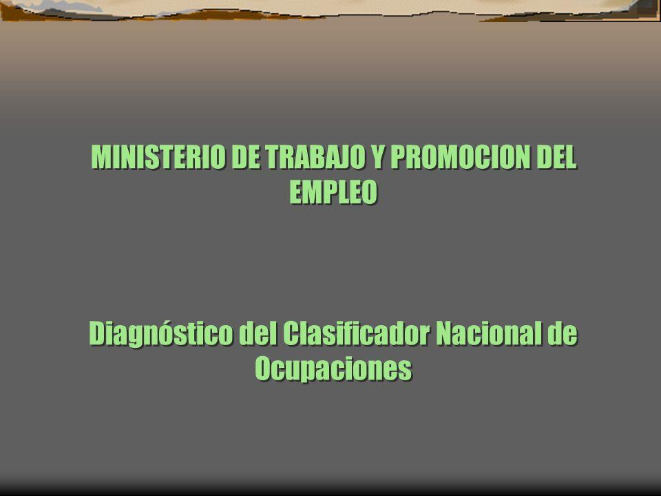 MINISTERIO DE TRABAJO Y PROMOCION DEL EMPLEO Diagnóstico del Clasificador Nacional de Ocupaciones