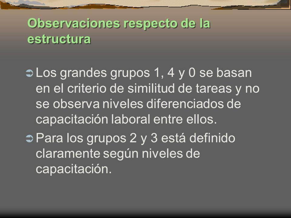 Observaciones respecto de la estructura Los grandes grupos 1, 4 y 0 se basan en el criterio de similitud de tareas y no se observa niveles diferenciad