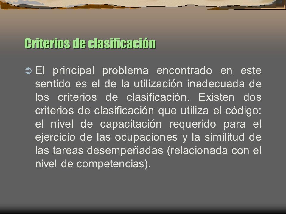 Criterios de clasificación El principal problema encontrado en este sentido es el de la utilización inadecuada de los criterios de clasificación. Exis