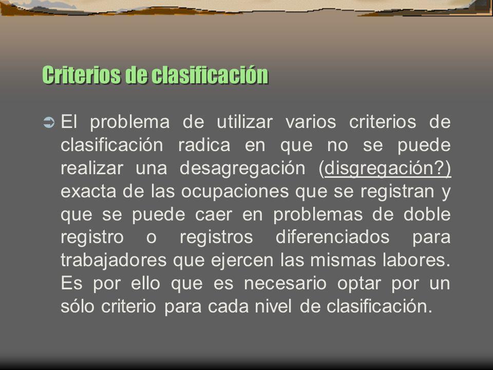Criterios de clasificación El problema de utilizar varios criterios de clasificación radica en que no se puede realizar una desagregación (disgregació