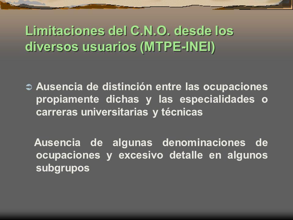 Limitaciones del C.N.O. desde los diversos usuarios (MTPE-INEI) Ausencia de distinción entre las ocupaciones propiamente dichas y las especialidades o