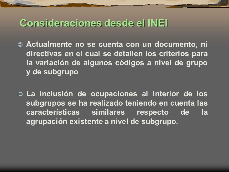 Consideraciones desde el INEI Actualmente no se cuenta con un documento, ni directivas en el cual se detallen los criterios para la variación de algun