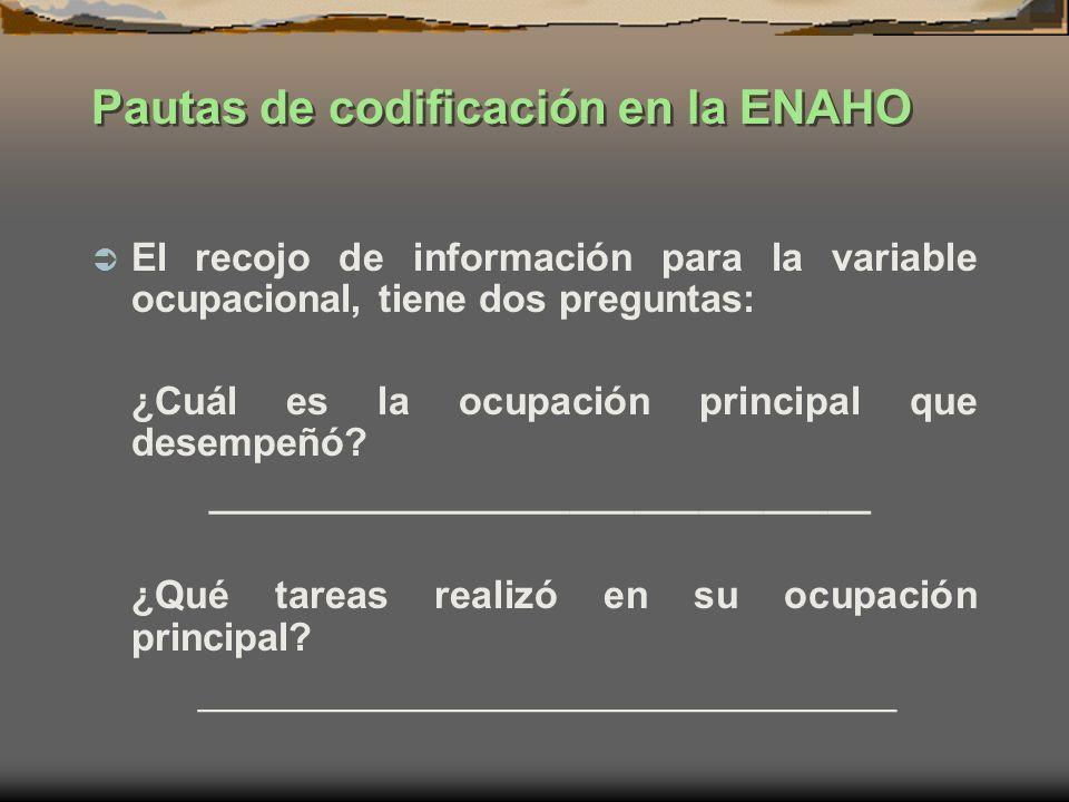 Pautas de codificación en la ENAHO El recojo de información para la variable ocupacional, tiene dos preguntas: ¿Cuál es la ocupación principal que des