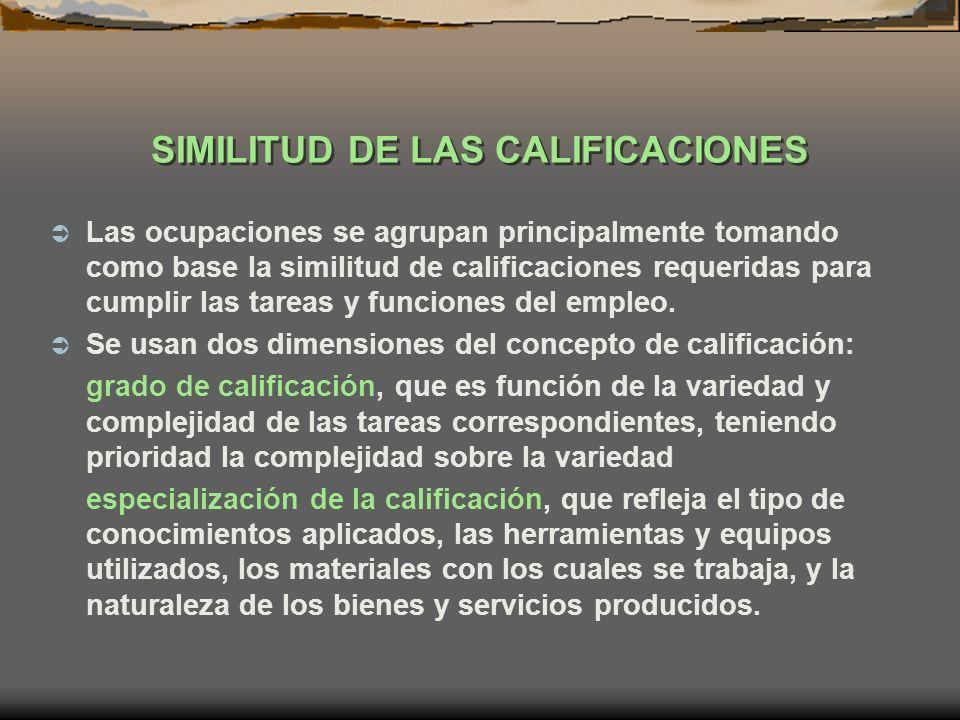 SIMILITUD DE LAS CALIFICACIONES Las ocupaciones se agrupan principalmente tomando como base la similitud de calificaciones requeridas para cumplir las