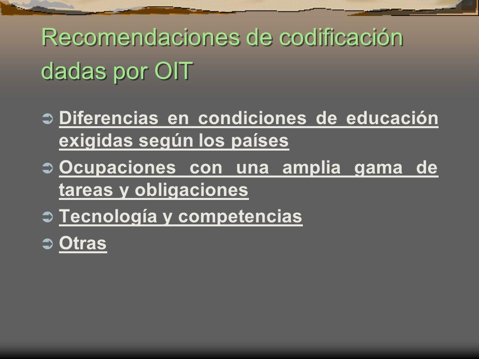 Recomendaciones de codificación dadas por OIT Diferencias en condiciones de educación exigidas según los países Ocupaciones con una amplia gama de tar
