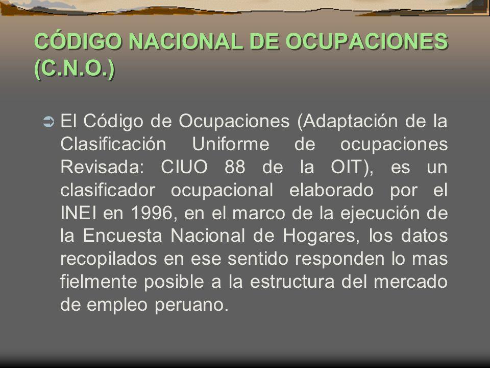 CÓDIGO NACIONAL DE OCUPACIONES (C.N.O.) El Código de Ocupaciones (Adaptación de la Clasificación Uniforme de ocupaciones Revisada: CIUO 88 de la OIT),