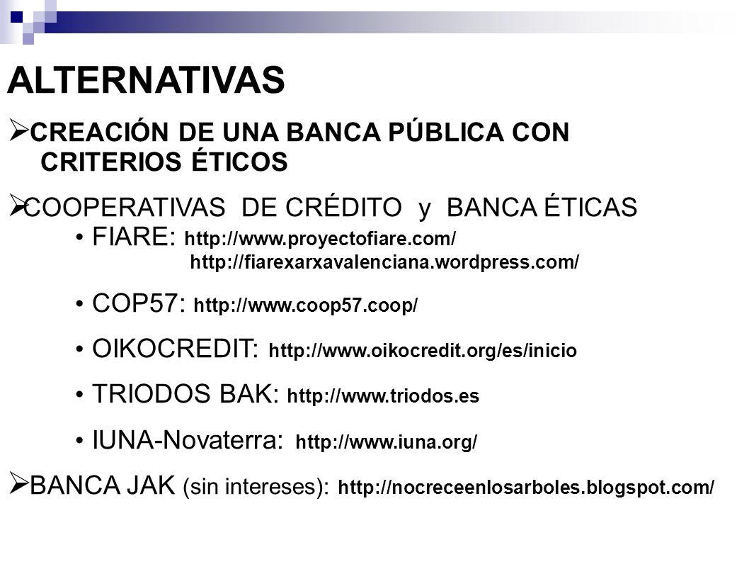 ALTERNATIVAS CREACIÓN DE UNA BANCA PÚBLICA CON CRITERIOS ÉTICOS COOPERATIVAS DE CRÉDITO y BANCA ÉTICAS FIARE: http://www.proyectofiare.com/ http://fia