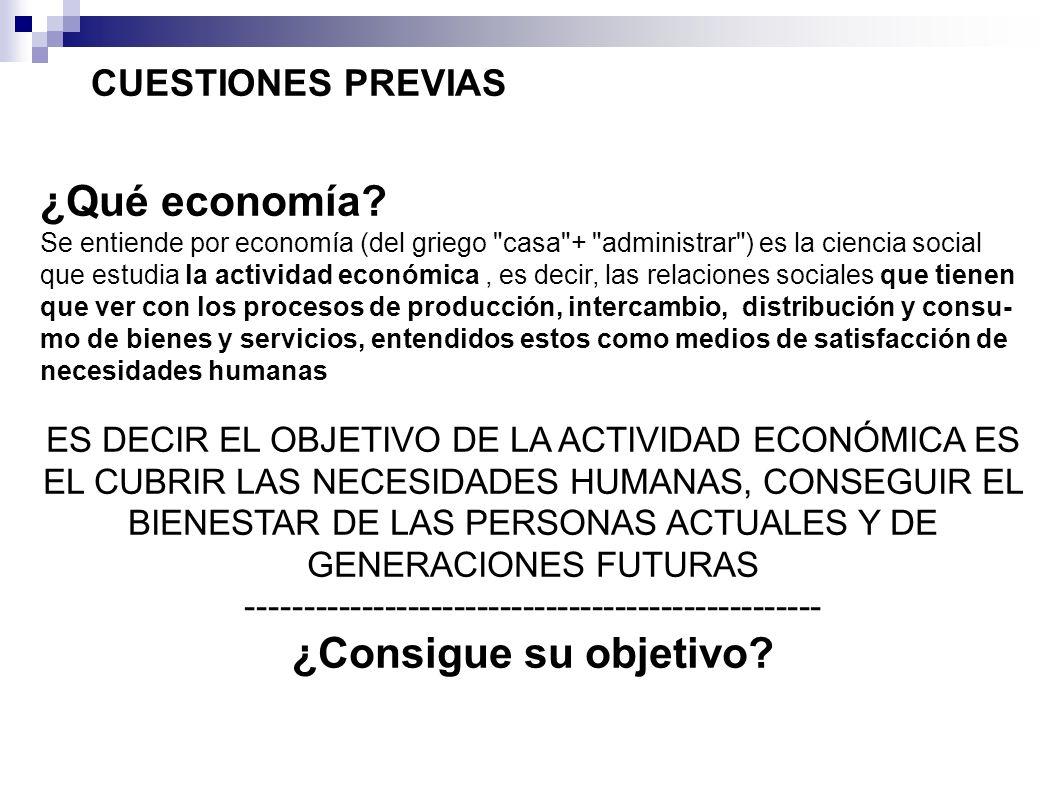 CUESTIONES PREVIAS ¿Qué economía? Se entiende por economía (del griego