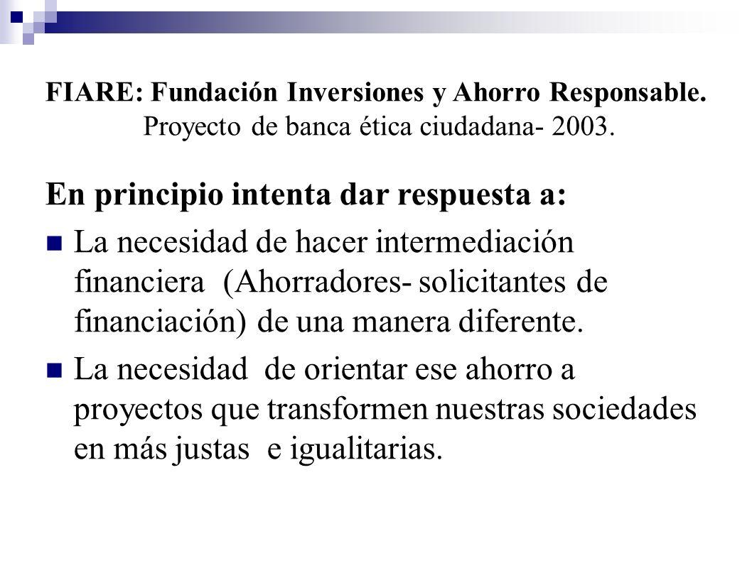 En principio intenta dar respuesta a: La necesidad de hacer intermediación financiera (Ahorradores- solicitantes de financiación) de una manera difere