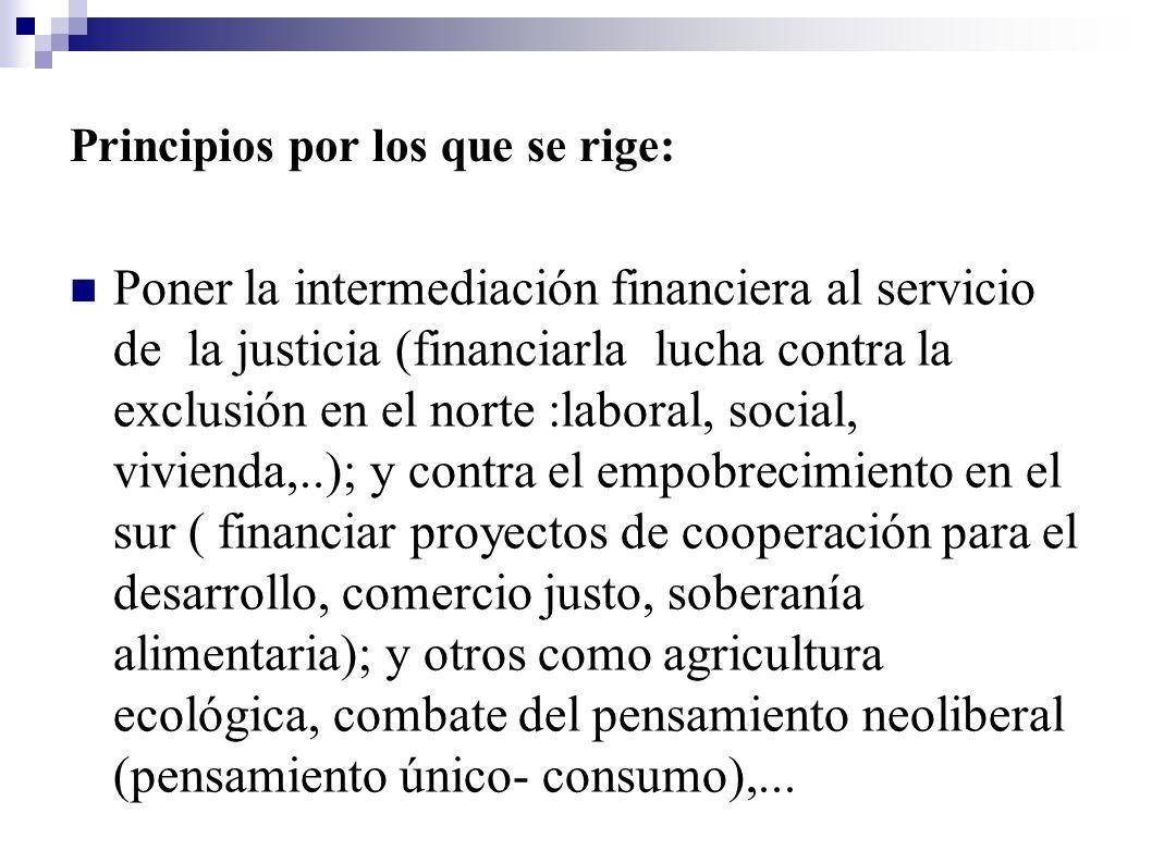 Principios por los que se rige: Poner la intermediación financiera al servicio de la justicia (financiarla lucha contra la exclusión en el norte :labo