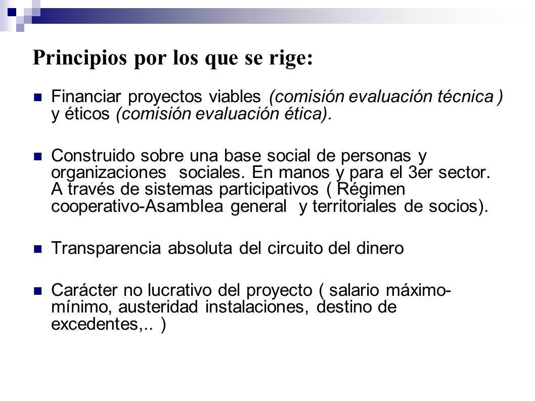 Principios por los que se rige: Financiar proyectos viables (comisión evaluación técnica ) y éticos (comisión evaluación ética). Construido sobre una