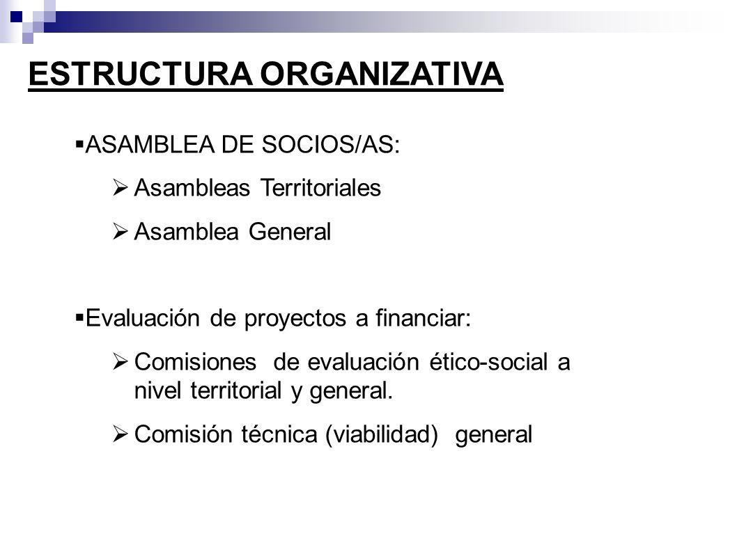 ESTRUCTURA ORGANIZATIVA ASAMBLEA DE SOCIOS/AS: Asambleas Territoriales Asamblea General Evaluación de proyectos a financiar: Comisiones de evaluación