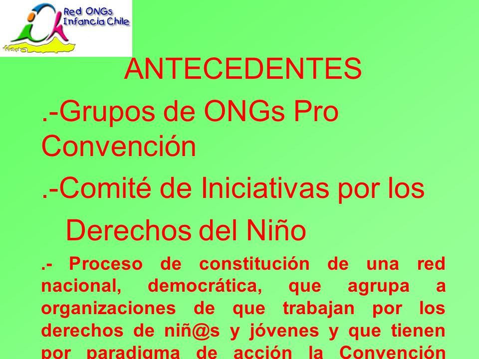 Misión La Red Nacional de ONGs de Infancia y Juventud de Chile, en tanto actor social y político, reconocido por los niños niñas y jóvenes; asume un rol crítico y propositivo en la sociedad promoviendo la defensa y respeto de los derechos infanto juveniles para la construcción de una cultura de derechos